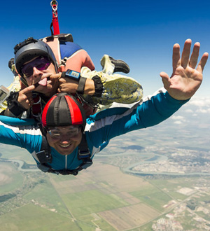 Tandem Parachuting Stag Making Funny Faces