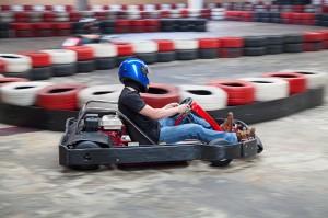 Indoor go kart racing close-up