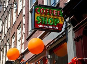 Amsterdam Weekends coffee shop sign